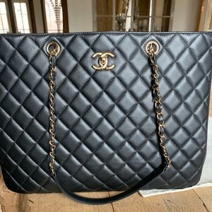 Chanel Black Caviar Quilted Tote w/ Gold Hardware